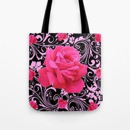 ORNATE  BLACK & PINK ROSE GARDEN PATTERN Tote Bag