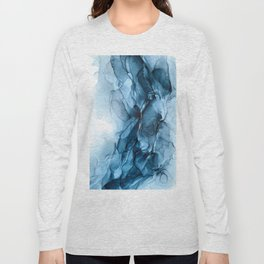 Deep Blue Flowing Water Abstract Painting Long Sleeve T-shirt