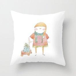 Bird Elf with a Gift Throw Pillow