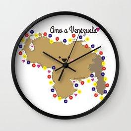 Amo a Venezuela llena de flores Wall Clock
