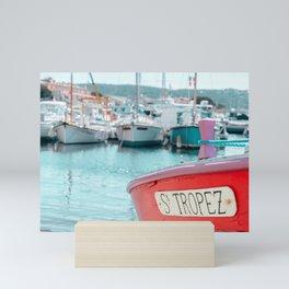 Nautical Travel Print | Blue, Teal, Turquoise Clear Sea, Ocean | Boats, Harbor, Seascape Europe Mini Art Print