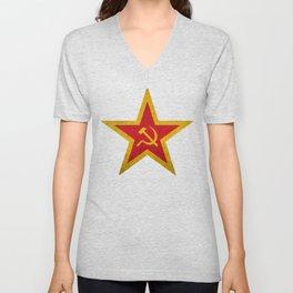 USSR Cold War Soviet Union Flag Communist Star Communism Russia Unisex V-Neck
