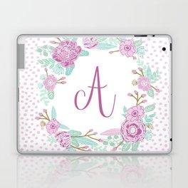 Monogram A - cute girls purple florals flower wreath, lilac florals, baby girl, baby blanket Laptop & iPad Skin