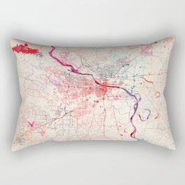 Little Rock map Arkansas painting Rectangular Pillow