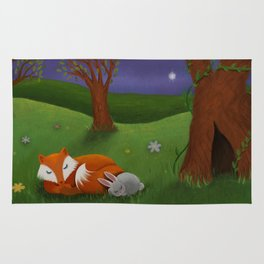 Fox And Bunny Dreaming The Night Away Rug