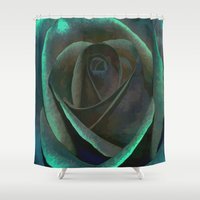 northern lights Shower Curtains featuring Northern Lights Rose by Judy Palkimas