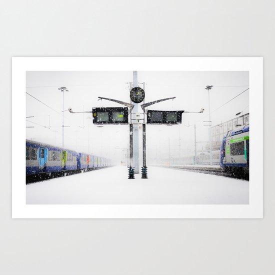 blizzard in Paris Art Print
