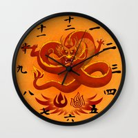 the last airbender Wall Clocks featuring Avatar The Last Airbender Fire Clock Face by Art of Sara