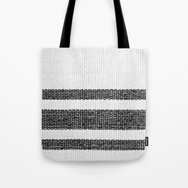 Woven Stripes Black and White Tote Bag