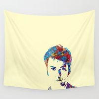 david tennant Wall Tapestries featuring David Tennant - Doctor Who by lauramaahs