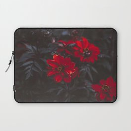 Beautiful Dark Red Sensual Romantic Flowers With Dark Leaves Laptop Sleeve