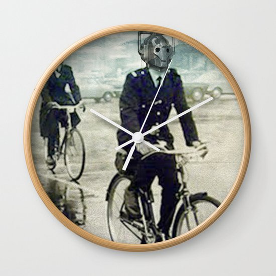 Cybermen on bikes Wall Clock
