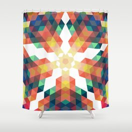 Retro star backdrop. Mosaic hipster background made of triangles Shower Curtain