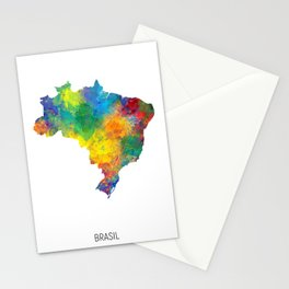 Brasil Watercolor Map Stationery Cards