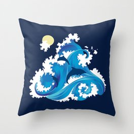 Big Waves and Dolphins Throw Pillow