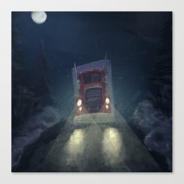 Heavy truck, by night, in the snow Canvas Print