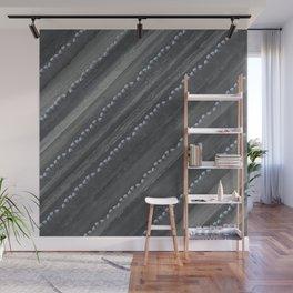 Charcoal Tonal Floral Stripes Wall Mural