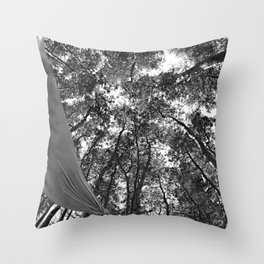 Hammock in the forest Throw Pillow