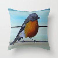 robin williams Throw Pillows featuring A Fragile Robin for Mr. Williams by FrameDope