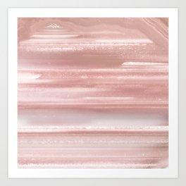 Geode Crystal Rose Gold Pink Art Print