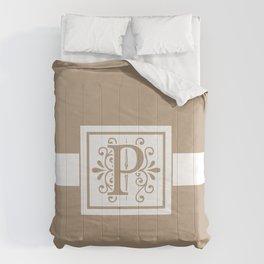 Monogram Letter P on Beige Background Comforters