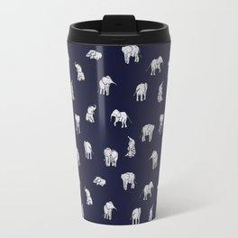 Indian Baby Elephants in Navy Travel Mug