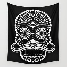 Black Skull  White Suits Wall Tapestry