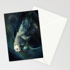 Polar Bear Swimming in Northern Lights Stationery Cards