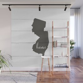 New Jersey is Home - Charcoal on White Wood Wall Mural