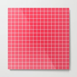 Sizzling Red - fuchsia color - White Lines Grid Pattern Metal Print