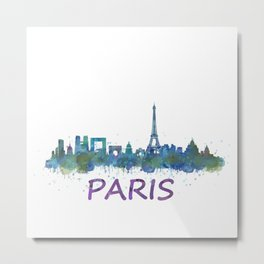 Paris France City Skyline in watercolor HQ Metal Print