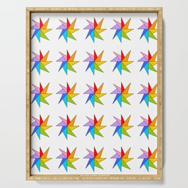 Stars 9- sky,light,rays,pointed,hope,estrella,mystical,spangled,gentle Serving Tray