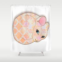 introvert Shower Curtains featuring Introvert Kitten - patterned cat illustration by Perrin Le Feuvre
