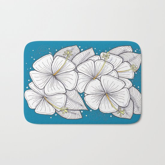Zentangle Blue and Gold Hibiscus Blossoms for Flower Lovers Bath Mat