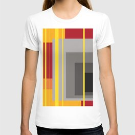 yellow Stripes and black grey red square pattern T-shirt