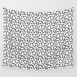 Black and White Memphis Squiggle Pattern Wall Tapestry