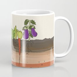 Earth soil layers vegetables garden cute educational illustration kitchen decor print Coffee Mug