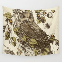 mushrooms Wall Tapestries featuring Great Horned Owl by Teagan White