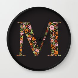 Retro Floral Letter M Wall Clock