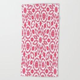 Ruby Mandala Tile 2 Beach Towel