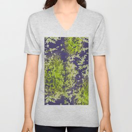 camouflage with snake texture in lime and navy Unisex V-Neck