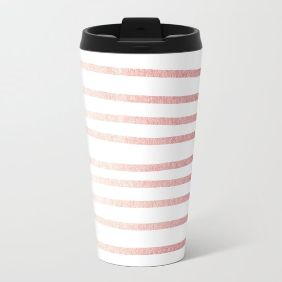 Simply Drawn Stripes Rose Gold Twilight Metal Travel Mug