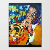 louis armstrong Canvas Prints featuring Louis Armstrong by Phil Fung