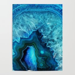 Bright Blue Agate Poster