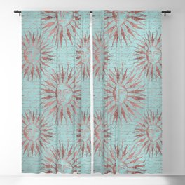 Ancient Sun Face Copper And Teal Blackout Curtain