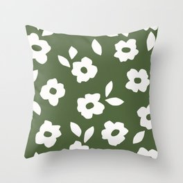 Simple Hand Cut Floral | Green Throw Pillow