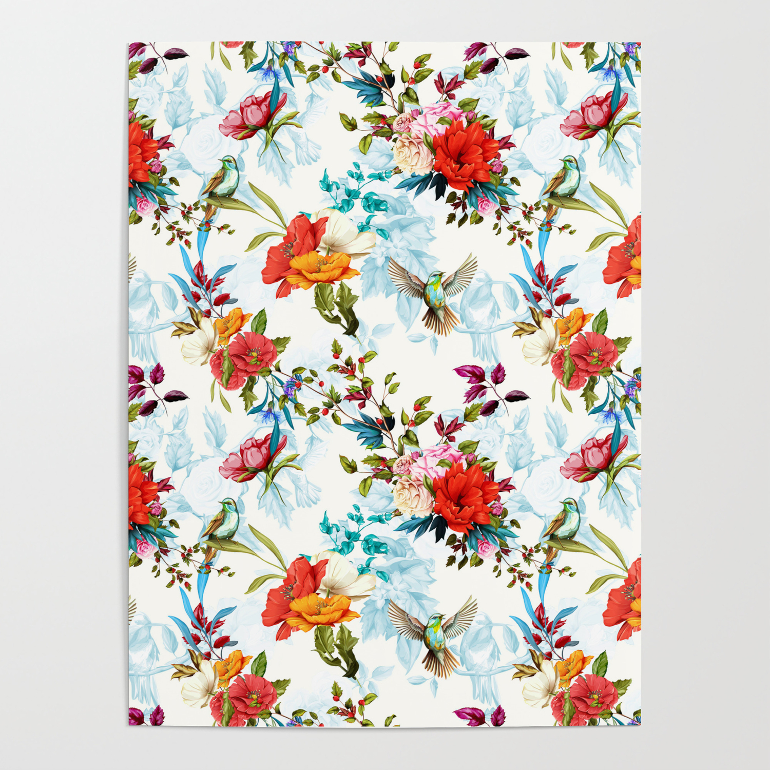 Floral Pattern Poppy Wild Blossom Rose Nightingale Birds With