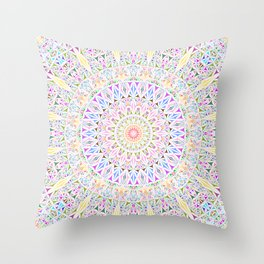 Colorful Tribal Triangle Mandala Throw Pillow