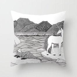 A Meeting by the Water--B&W Throw Pillow