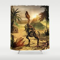 trex Shower Curtains featuring Tyrannosaurus skeleton by nicky2342